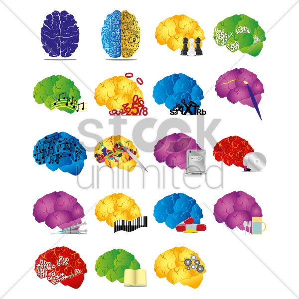 brain icons vector graphic