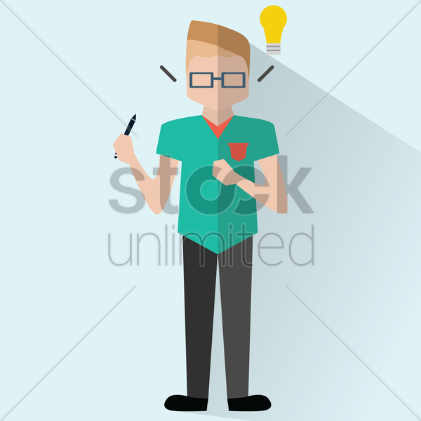 businessman with ideas vector graphic