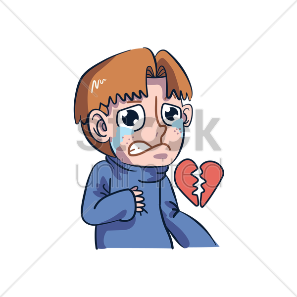Cartoon Character Having A Broken Heart Vector Image 1957483