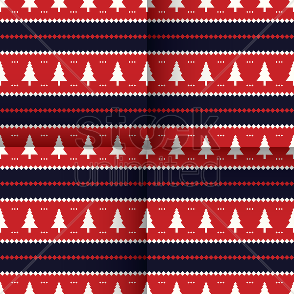 Free christmas tree seamless design vector graphic