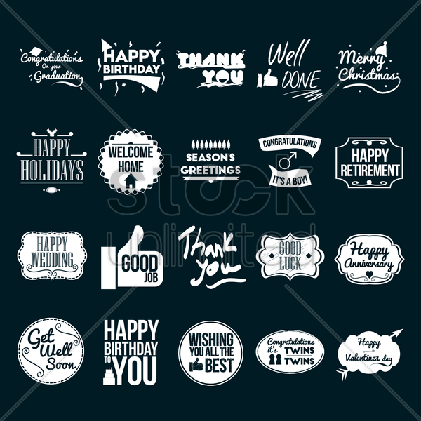collection of best wishes vector graphic