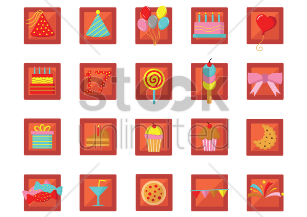 collection of birthday celebration icons vector graphic