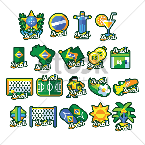 collection of brazil general icons vector graphic