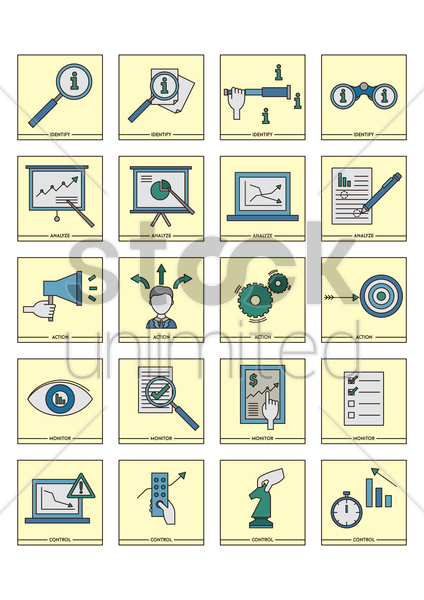 collection of business strategy icons vector graphic
