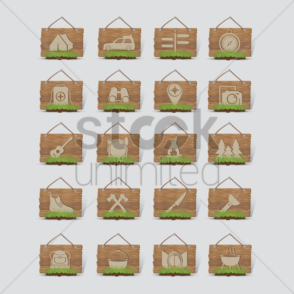 collection of camping equipment on wooden board vector graphic