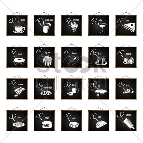 collection of food icons with dollar sign in speech bubble vector graphic