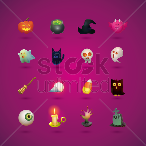 collection of halloween icons vector graphic