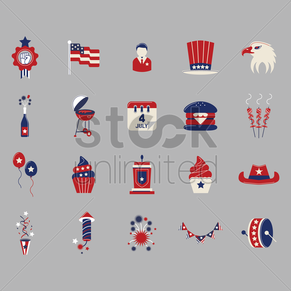 collection of independence day icons vector graphic