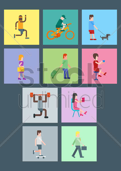 collection of men and women with different acts vector graphic