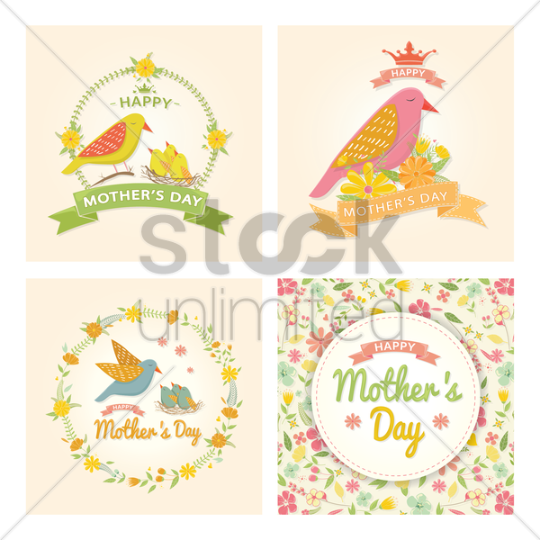 collection of mothers day cards vector graphic