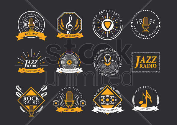 collection of music festival logos vector graphic