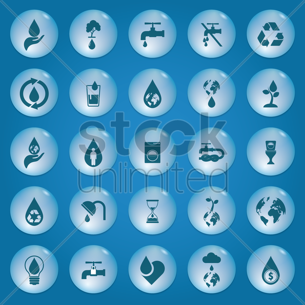 collection of save water icons vector graphic