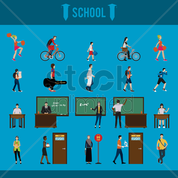 collection of school characters vector graphic