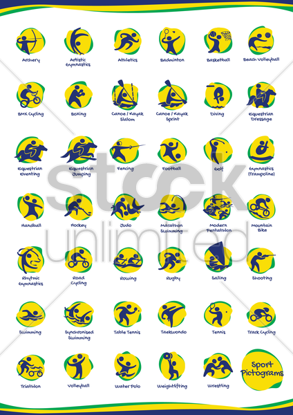 collection of sports activities vector graphic