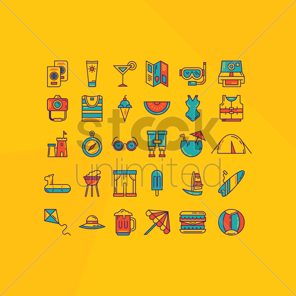 collection of summer and travel icons vector graphic