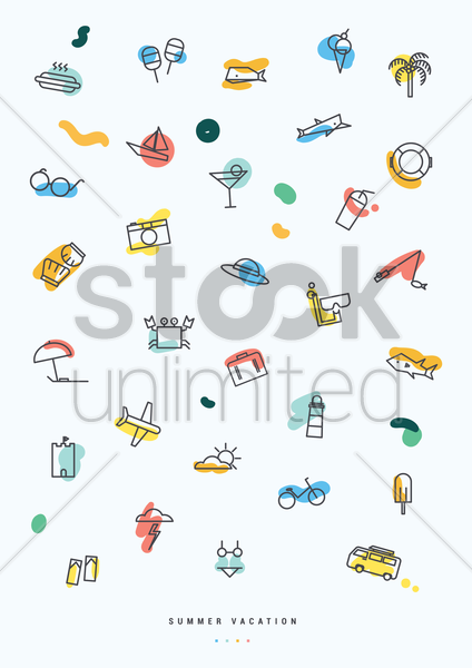 collection of summer vacation icons vector graphic