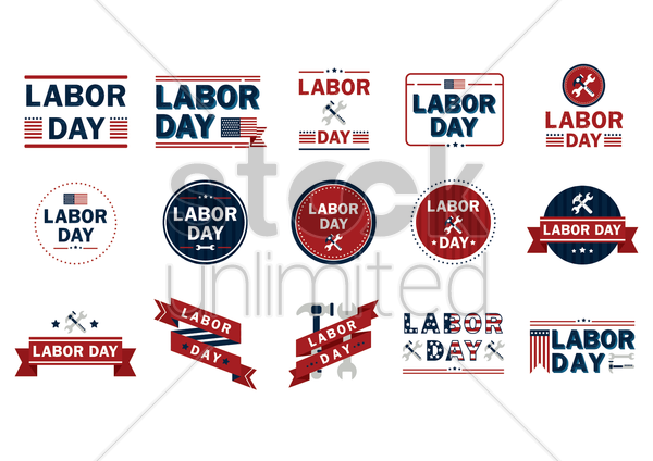 collection of us labor day icons vector graphic