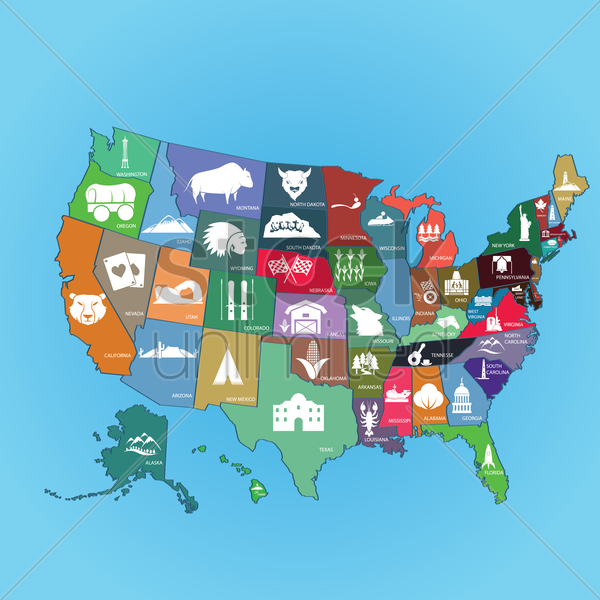 collection of us state maps vector graphic