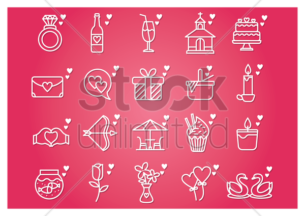 collection of valentines icons vector graphic