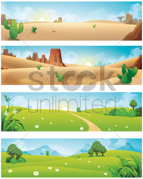 collection of various scenery banners vector graphic