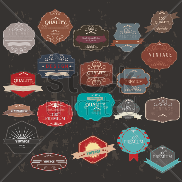 collection of vintage label and banner vector graphic
