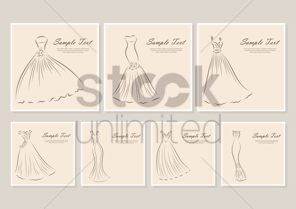 collection of wedding dress backgrounds vector graphic