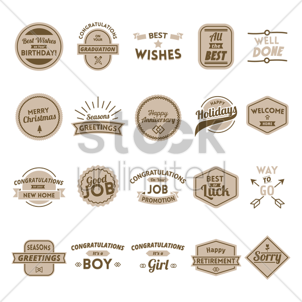 collection of wish labels vector graphic