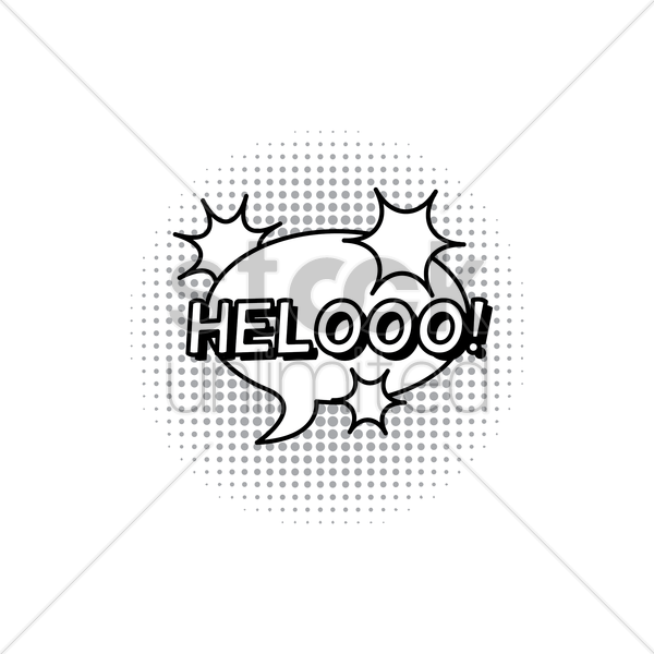 comic bubble helooo vector graphic
