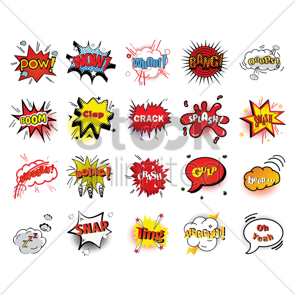 comic effect set vector graphic
