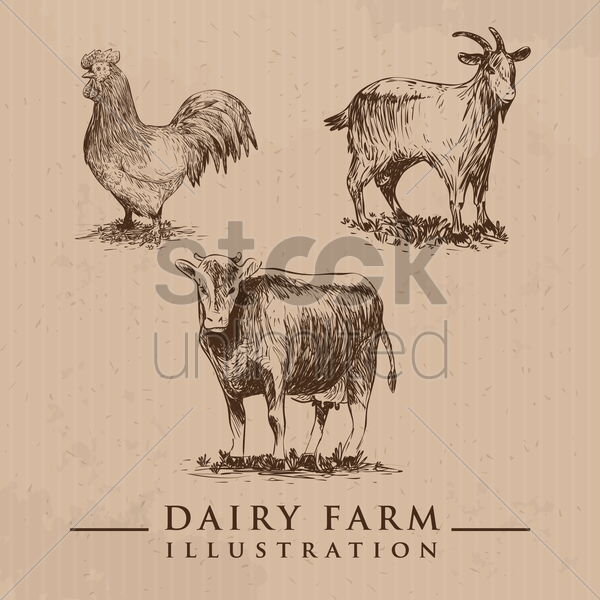 dairy farm animals set vector graphic