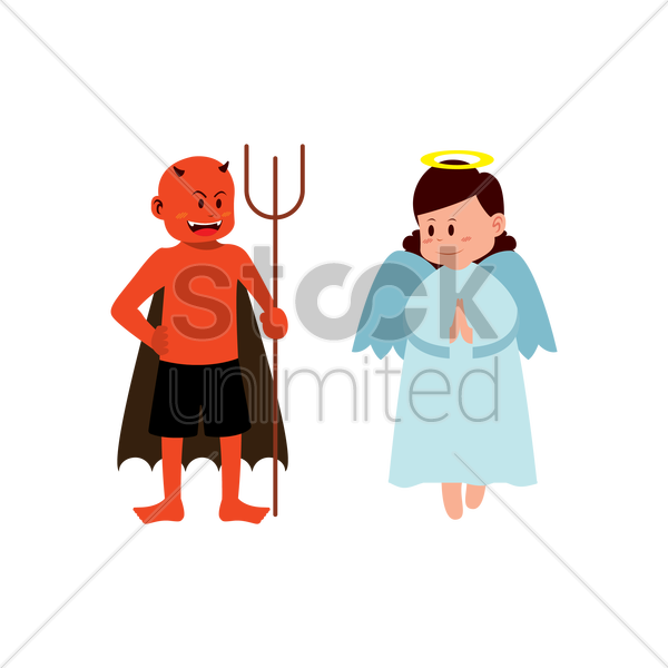 angel and devil clipart