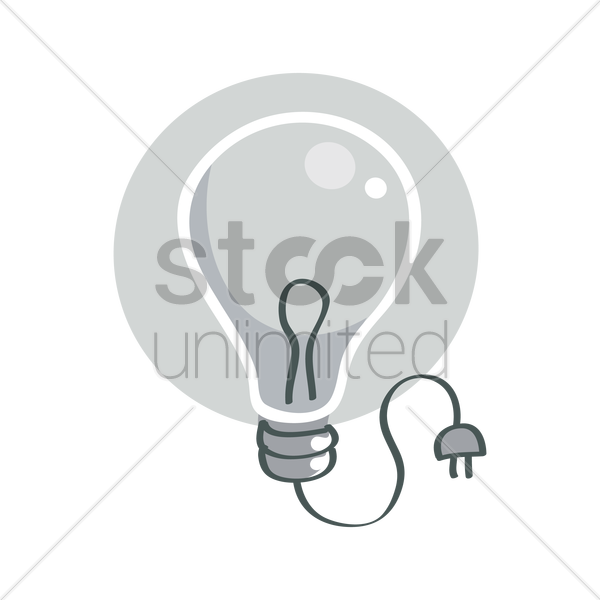 Electric Bulb With Plug Vector Image