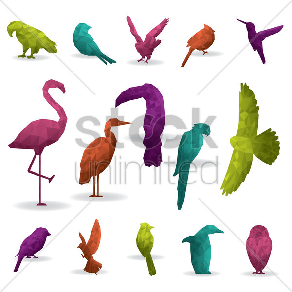 Free faceted birds vector graphic