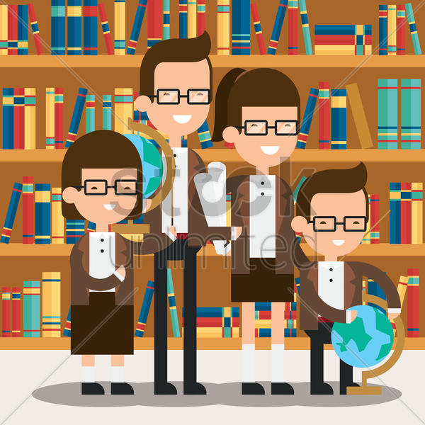 family standing in library vector graphic
