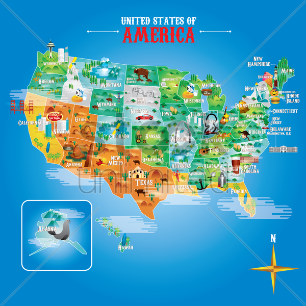 fifty states of america with famous landmarks vector graphic