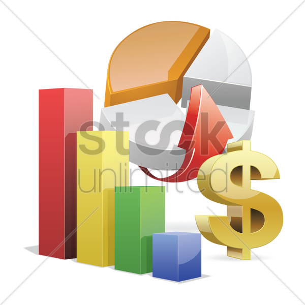 Free financial bar graph and pie chart vector graphic