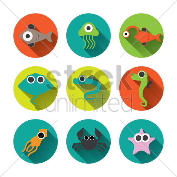 fish icons vector graphic