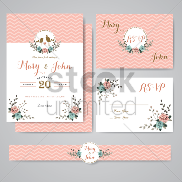 floral wedding card design vector graphic