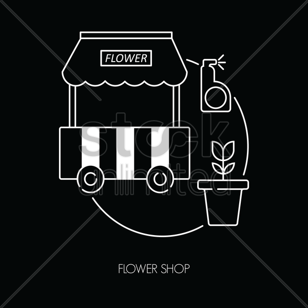 flower shop icon vector graphic