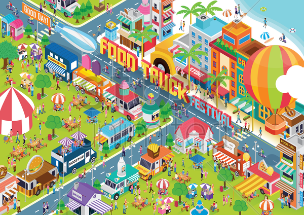 food truck festival vector graphic