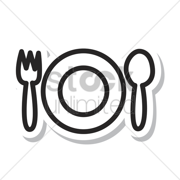 Fork And Spoon With A Plate Vector Image 1244547 Stockunlimited