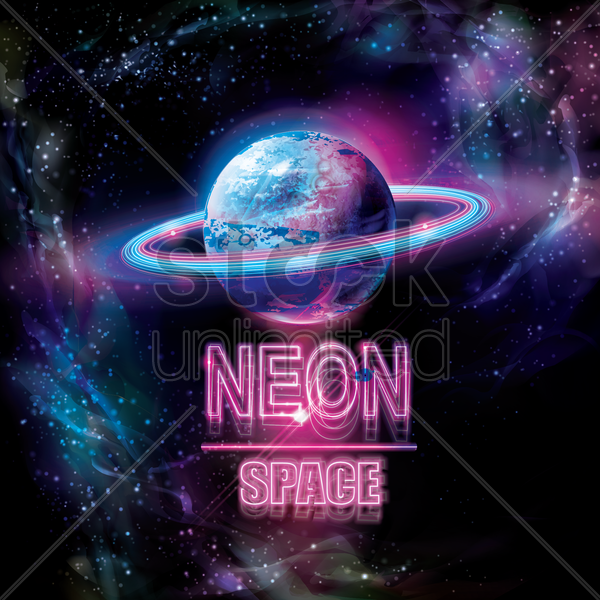 galactic neon design vector graphic