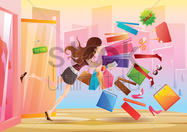 girl slipped with shopping items gráficos vectoriales