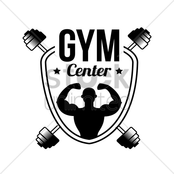 gym center label vector graphic