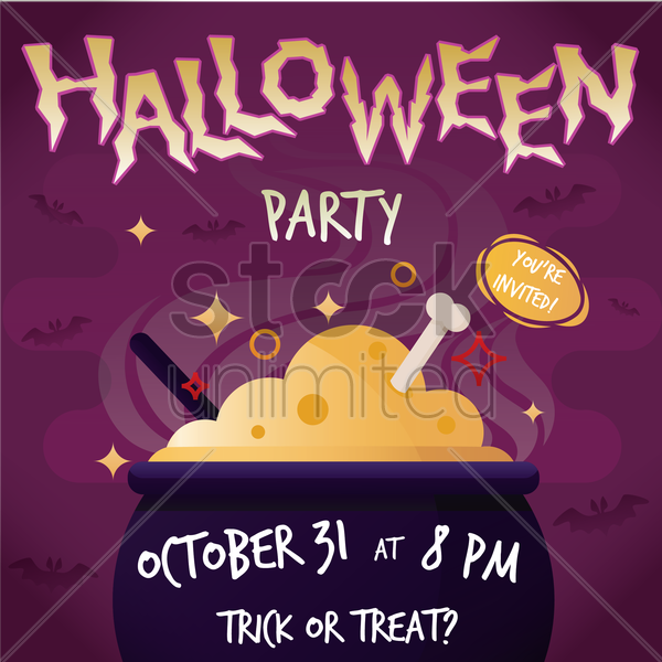 halloween party poster vector graphic