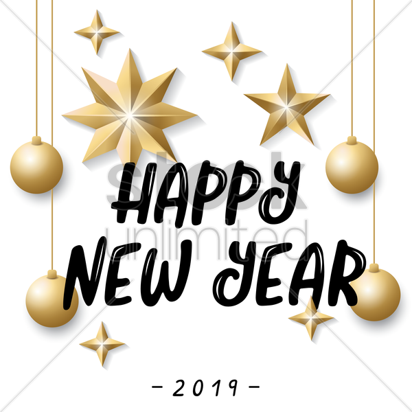 happy new year 2019 vector graphic