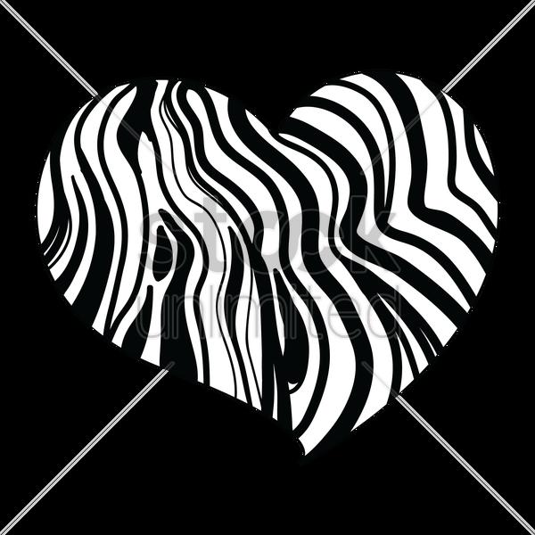 Heart Design With Zebra Print Vector Image
