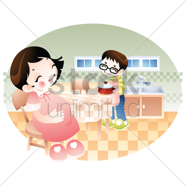 Husband Cooking For His Pregnant Wife Vector Graphic