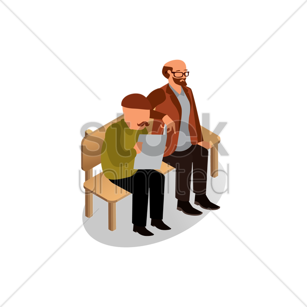 Isometric Men Sitting On Bench Vector Graphic