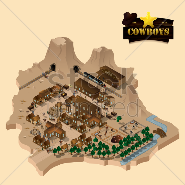 isometric of wild west town vector graphic